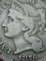1876 THREE 3 CENT NICKEL   KEY DATE  FINE DETAILS