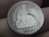 1844 P SILVER SEATED LIBERTY QUARTER  FULL DATE