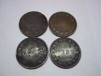 4 CANADIAN LARGE CENTS COIN LOT 1876 H 1896 1912 & 1917 TAKE A LOOK
