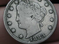 1883 LIBERTY HEAD V NICKEL  WITH CENTS  VF DETAILS NEARLY FULL RIMS