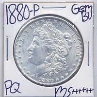 1880 P MORGAN DOLLAR UNCIRCULATED US MINT GEM PQ SILVER COIN BU UNC MS