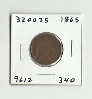 1865 TWO CENTS -  320035 - COLLECTOR GRADE - REVERSE ROTATION - SCRATCHES REV