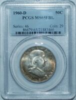 1960 D PCGS MS65FBL FULL BELL LINES FRANKLIN HALF DOLLAR