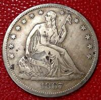 EARLY YEARS U.S SILVER COIN1867 S SEATED LIBERTY HALF DOLLAR CF84B