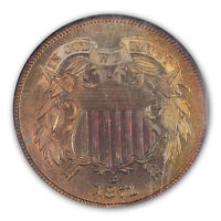 1871 2C TWO CENT PIECE NGC PR66RB