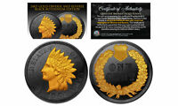 BLACK RUTHENIUM INDIAN HEAD CENT PENNY COIN 24K GOLD HIGHLIGHTS 2 SIDED WITH COA