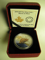 2015 PROOF $20 BEAVER AT WORK COLOUR CANADA .9999 SILVER TWENTY DOLLARS