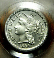 1889 NICKEL THREE CENT PIECE PCGS PR-65 BLAZING LUSTER-SHARP STRIKE