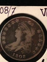 SHARP 1808/7 CAPPED BUST HALF DOLLAR OVERDATE VARIETY O 101 IN FINE