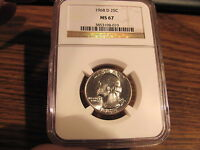1968 D WASHINGTON QUARTER NGC MS67  LIST $160