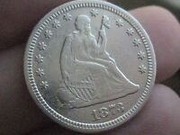 1873 NO ARROWS OPEN 3 SEATED LIBERTY QUARTER  XF DETAILS    FULL RIMS