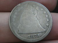 1873 SEATED LIBERTY QUARTER  NO ARROWS  OPEN 3   KEY DATE