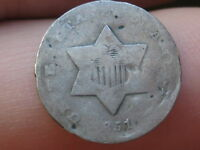 1851 O THREE 3 CENT SILVER TRIME   DATE