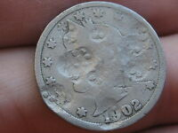 1902 LIBERTY HEAD V NICKEL- COUNTERSTAMPED