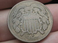 1868 TWO 2 CENT PIECE- VG OBVERSE DETAILS- CIVIL WAR TYPE COIN
