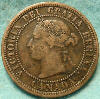1876  HIGH GRADE CANADA LARGE CENT VICTORIA COIN NO RES CANADIAN