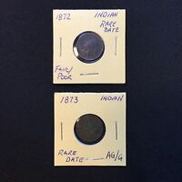 1872 AND 1873 INDIAN HEAD CENTS    TWO KEY DATES