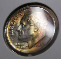 LOW MINTAGE RAINBOW TONED UNC 1947 S ROOSEVELT DIME HIGH GRADE NICE TONING
