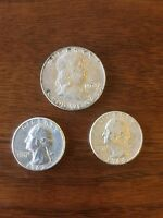 J19 90 SILVER 1963 FRANKLIN HALF DOLLAR 1963 AND 1964 QUARTERS SURVIVAL MONEY