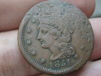 1851 BRAIDED HAIR LARGE CENT PENNY VF/XF DETAILS ELONGATED