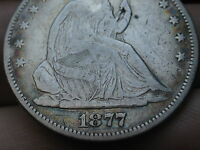 1877 S SEATED LIBERTY HALF DOLLAR  VF DETAILS