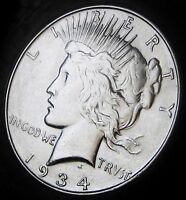 1934 D PEACE DOLLAR   NEAR CHOICE BRILLIANT UNCIRCULATED   BETTER DATE PEACE