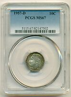 1957 D ROOSEVELT DIME MS67 PCGS COLOR