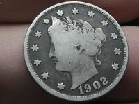 1902 LIBERTY HEAD V NICKEL- FINE/VF DETAILS, FULL DATE, FULL RIMS