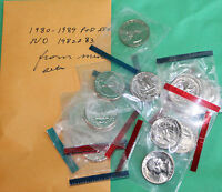 1980   1989 BU WASHINGTON QUARTERS 16 P & D COINS FROM US MINT SETS NO 1982 1983