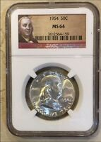 1954 NGC MS 64 BEN FRANKLIN HALF DOLLAR  WITH FRANKLIN BUST NGC LABEL