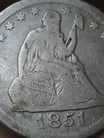1851 O SEATED LIBERTY QUARTER  VG DETAILS  LOW MINTAGE COIN