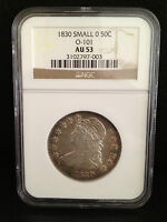 1830 SMALL 0 CAPPED BUST HALF DOLLAR 50C GRADED AU53 AU 53 BY NGC O 101 AWESOME