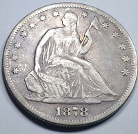 1878 VF XF 50C US SEATED LIBERTY HALF DOLLAR ANTIQUE U.S. SILVER CURRENCY CENT