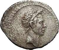 40BC DEIFIED JULIUS CAESAR PORTRAIT  TYPE ANCIENT SILVER ROMAN COIN I53393