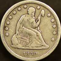 1859 O SEATED LIBERTY QUARTER CHOICE FINE
