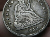 1859 O SILVER SEATED LIBERTY QUARTER  VF DETAILS LOW MINTAGE DATE
