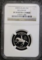 1999 S DELAWARE CLAD PROOF STATE QUARTER NGC PF70 UCAM