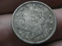 1893 LIBERTY HEAD V NICKEL- VF/EXTRA FINE  DETAILS, FULL RIMS,