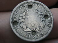 1900 LIBERTY HEAD V NICKEL  COUNTERSTAMPED/ PUNCH MARKS