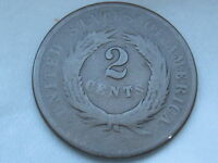 1864-1869 TWO 2 CENT PIECE- CIVIL WAR TYPE COIN, GOOD/VG REVERSE DETAILS