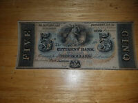 VF 1800'S 5 DOLLAR NOTE CITIZEN'S BANK OF LOUISIANA  OBSOLETE UNISSUED CURRENCY