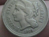 1868 THREE 3 CENT NICKEL  VF DETAILS  NEARLY FULL RIMS