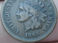 1865 INDIAN HEAD CENT PENNY- VF DETAILS, LIBERTY SHOWS