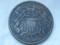 1869 TWO 2 CENT PIECE- CIVIL WAR TYPE COIN- VF DETAILS, PARTIAL WE