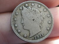 1911 LIBERTY HEAD V NICKEL- FINE/ VF DETAILS, FULL DATE, FULL RIMS