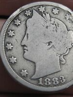 1883 LIBERTY HEAD V NICKEL  WITH CENTS  VG DETAILS FULL DATE