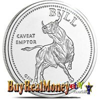 BULL AND BEAR 1 OZ SILVER ROUND BRILLIANT UNCIRCULATED
