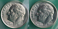 1997 P AND D ROOSEVELT DIME 2 COINS FROM US MINT SET BU CELLOS TEN CENTS TWO 10C