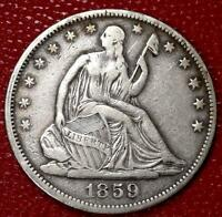 EARLY YEARS U.S SILVER COIN1859  SEATED LIBERTY HALF DOLLAR VF/XF CF78B