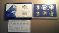 2005 S US MINT AMERICA THE BEAUTIFUL QUARTERS PROOF SET WITH COA